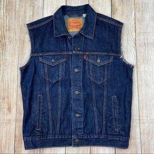 LEVI'S Trucker Jean Indigo Dark Denim Vest Jacket